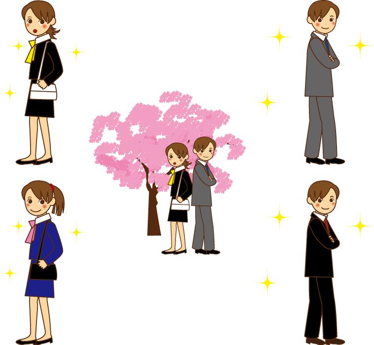 フリーイラスト 5種類の新入社員の男性と女性のセット