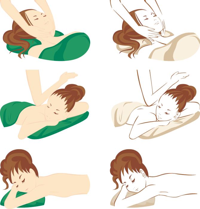 フリーイラスト 6種類のマッサージを受ける女性のセット