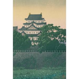 フリー絵画, 川瀬巴水, 浮世絵, 風景画, 建造物, 建築物, 城, 名古屋城, 愛知県, 日本の風景, 石垣, 石積み