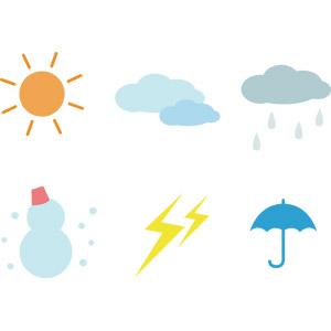 フリーイラスト, ベクター画像, AI, 天気, 晴れ, 雨, 傘, 曇り, 雪, 雪だるま, 雲, 太陽, 落雷(カミナリ)