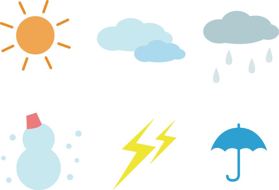 フリーイラスト 6種類の天気のアイコンセット