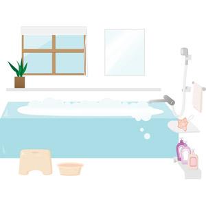 フリーイラスト, ベクター画像, AI, 部屋, お風呂, 浴槽(バスタブ), リンス, シャンプー, ボディソープ, バスチェアー, 風呂桶