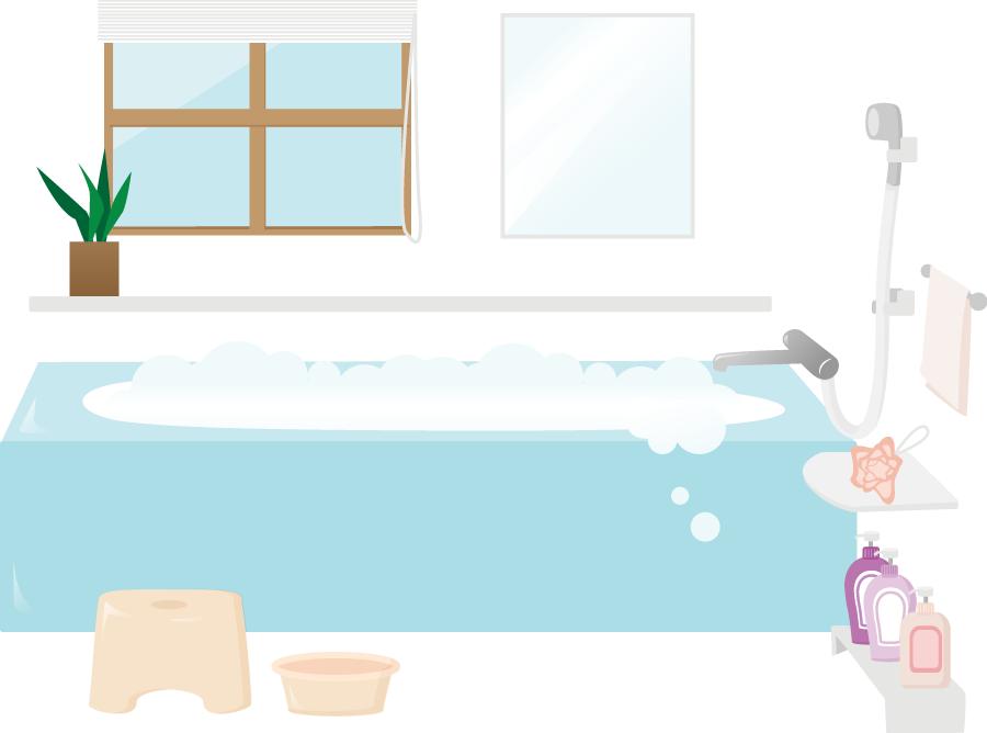 フリーイラスト お風呂場の風景