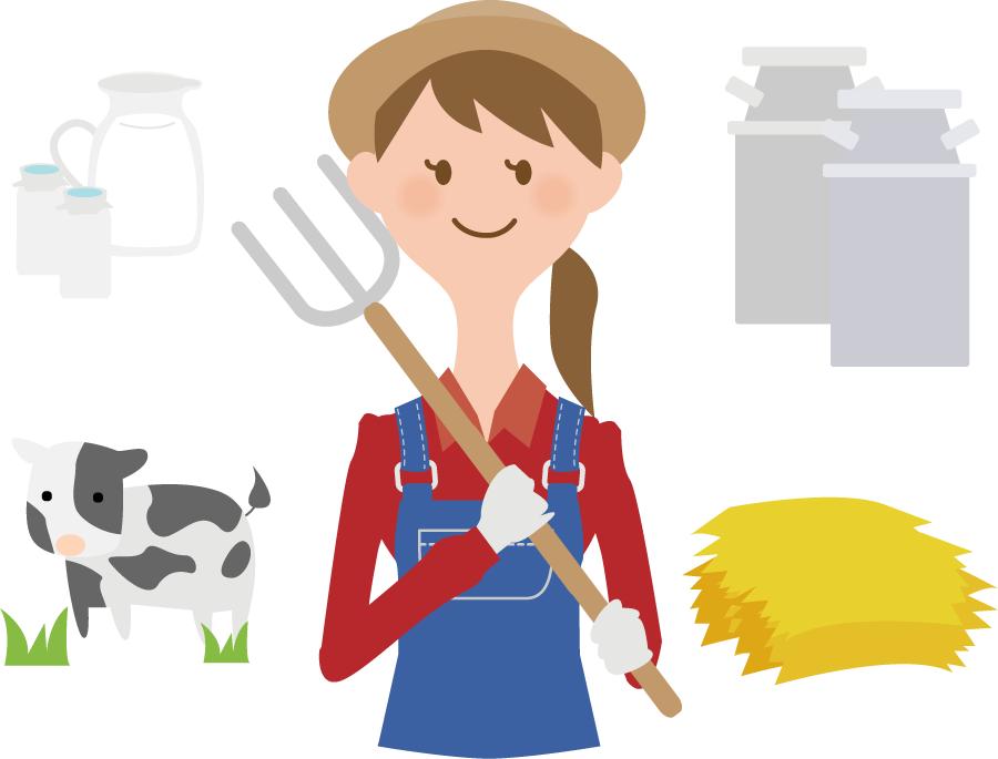 フリーイラスト 酪農家と酪農関連のセット