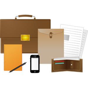 フリーイラスト, ベクター画像, AI, ビジネス, ブリーフケース, 鞄(バッグ), 封筒, 書類, ノート, シャープペンシル(シャーペン), スマートフォン(スマホ), 財布