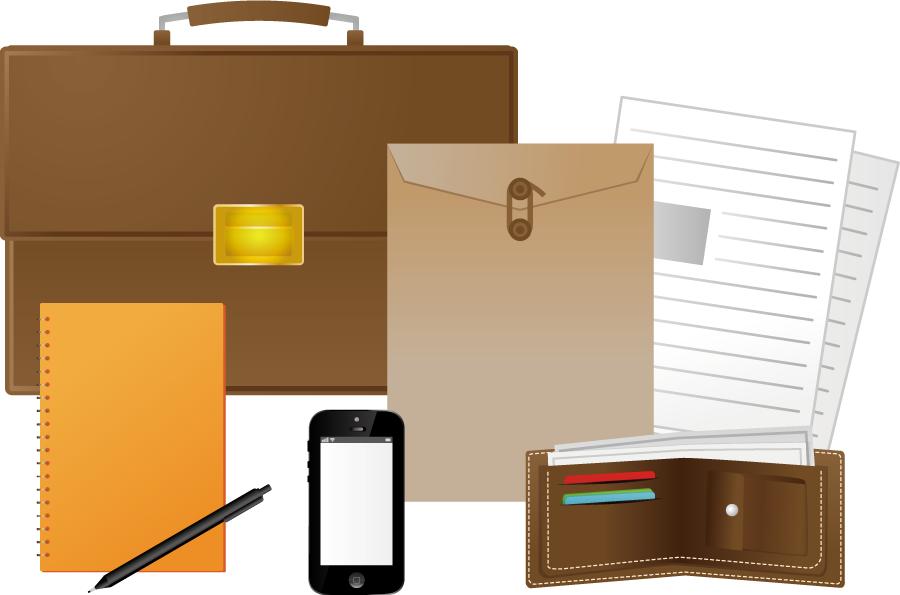 フリーイラスト 6種類のビジネスアイテムのセット