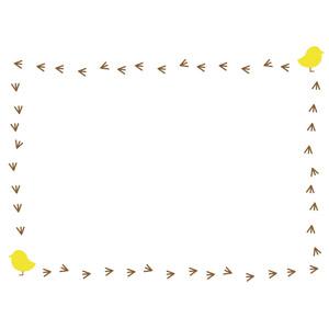 フリーイラスト, ベクター画像, AI, 背景, フレーム, 囲みフレーム, 動物, 鳥類, 鶏(ニワトリ), ひよこ(ヒヨコ), 足跡(動物)