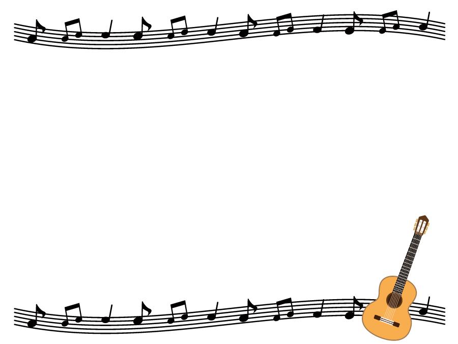 フリーイラスト ギターと楽譜の飾り枠