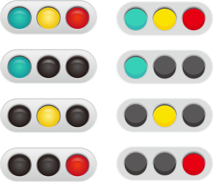 フリーイラスト 8種類の信号機のセット