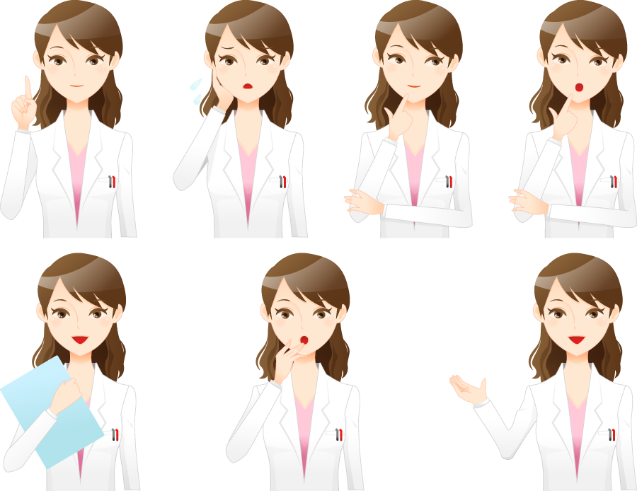 フリーイラスト 7種類の白衣姿の女医のセット