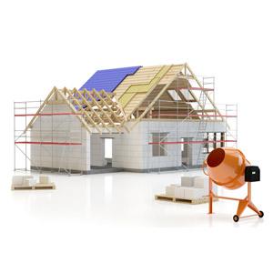 フリーイラスト, 建造物, 建築物, 住宅, 家(一軒家), マイホーム, 工事, コンクリートブロック, コンクリートミキサー