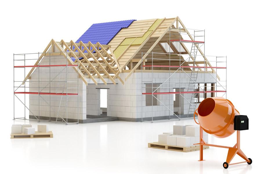フリーイラスト 建設中の家