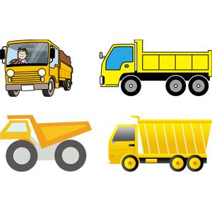 フリーイラスト, ベクター画像, AI, 乗り物, 自動車, 働く車, ダンプカー, 貨物自動車, 建設機械(重機), 工事, 土木