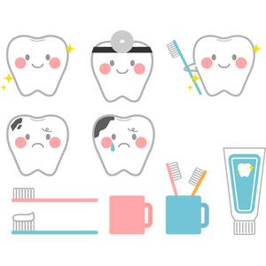 フリーイラスト, ベクター画像, AI, デンタルケア, 人体, 歯, 虫歯, 歯ブラシ(ハブラシ), 歯磨き(ハミガキ), 歯磨き粉