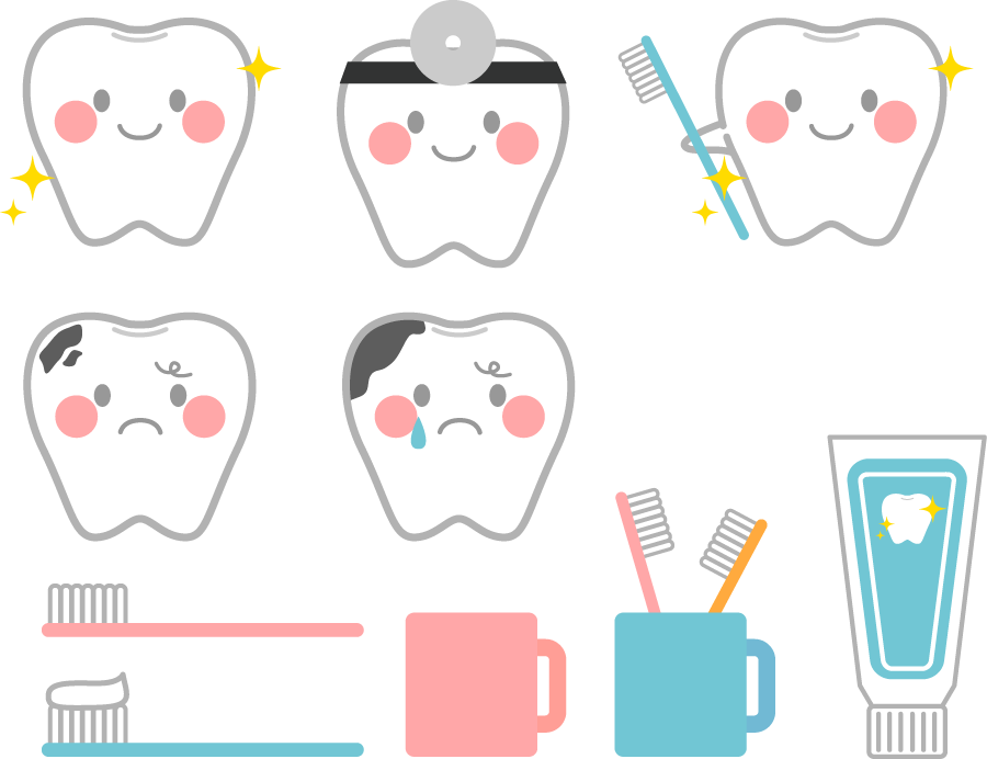フリーイラスト 10種類の歯と歯ブラシのセット