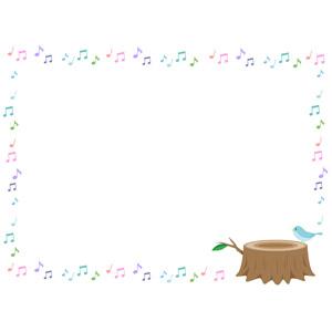 フリーイラスト, ベクター画像, AI, 背景, フレーム, 囲みフレーム, 音符, 小鳥, 青い鳥, 切り株