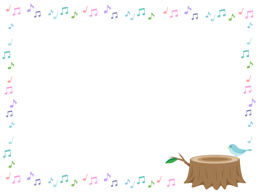 フリーイラスト 切り株に止まる小鳥と音符の飾り枠