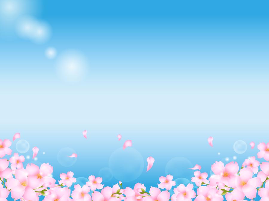 フリーイラスト 青空と桜の花の背景