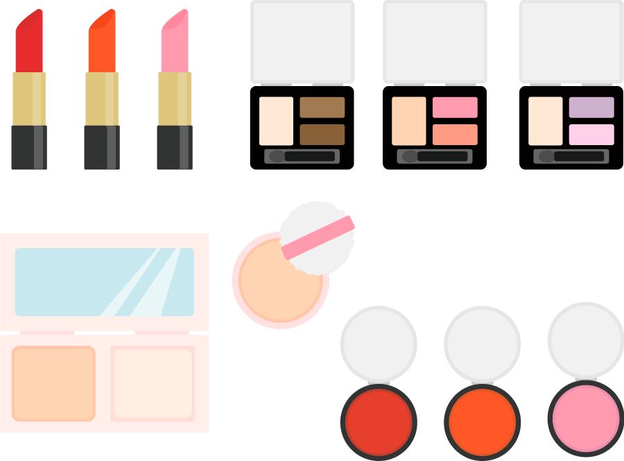 フリーイラスト 口紅やアイシャドウなどの化粧品のセット