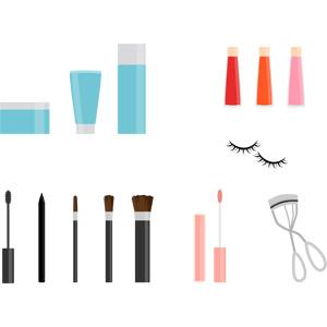 フリーイラスト, ベクター画像, AI, 化粧品(コスメ), スキンケア, 美容, スキンクリーム, 化粧水, リップグロス, マスカラ, アイライナー, メイクブラシ, ビューラー, つけまつ毛