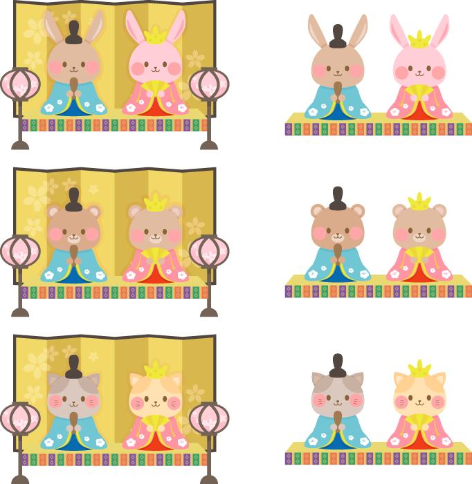 フリーイラスト 6種類のウサギとクマとネコのひな人形のセット