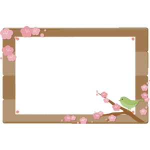 フリーイラスト, ベクター画像, AI, 背景, フレーム, 囲みフレーム, 掲示板, 貼り紙, 春, 梅(ウメ), 鶯(ウグイス)