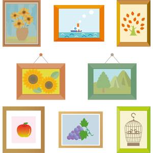フリーイラスト, ベクター画像, AI, 絵画, 額縁, 向日葵(ヒマワリ), 船, リンゴ, 葡萄(ブドウ), 鳥かご