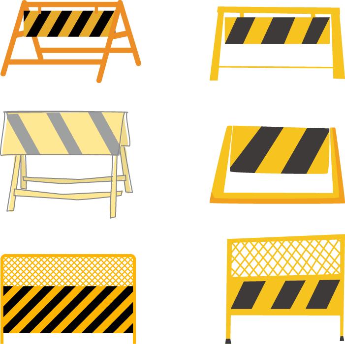 フリーイラスト 6種類の工事用バリケードとフェンスのセット