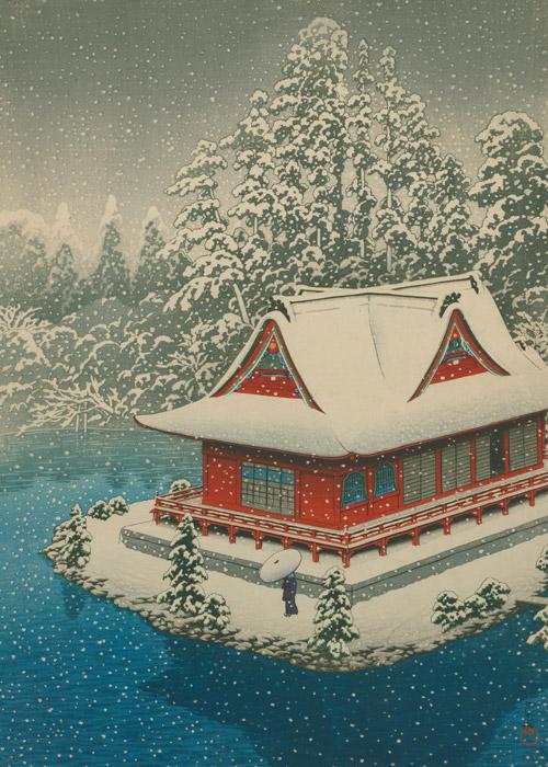 フリー絵画 川瀬巴水作「井の頭の雪」