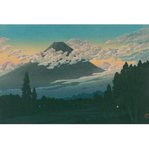 フリー絵画, 川瀬巴水, 浮世絵, 風景画, 山, 富士山, 世界遺産, 日本の風景, 雲, 田舎, 村, 水田(田んぼ)