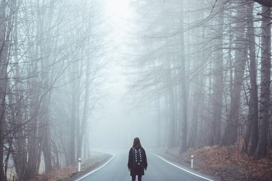 フリー写真 霧に包まれる森の道と後ろ姿の女性