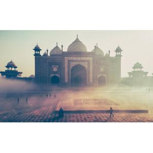 フリー写真, 風景, 建造物, 建築物, タージ・マハル, 世界遺産, インドの風景, 霧(霞)