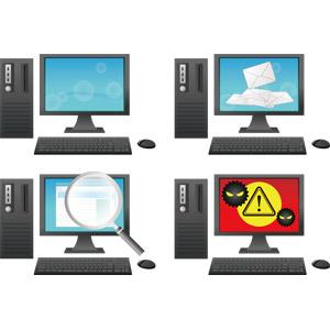 フリーイラスト, ベクター画像, AI, 家電機器, パソコン(PC), デスクトップパソコン, ディスプレイ(モニタ), 液晶ディスプレイ, キーボード(PC), マウス, メール, 検索(サーチ), コンピュータウイルス, 虫眼鏡(ルーペ), インターネット