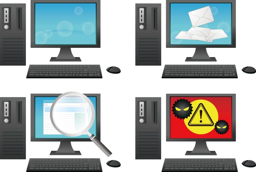 フリーイラスト ウイルスに感染するなど4種類のパソコンのセット