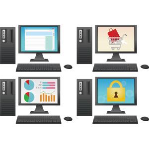 フリーイラスト, ベクター画像, AI, 家電機器, パソコン(PC), デスクトップパソコン, ディスプレイ(モニタ), 液晶ディスプレイ, キーボード(PC), マウス, ウェブサイト, インターネット, ネットショッピング, 買い物(ショッピング), データ, グラフ, セキュリティ, 錠前, 南京錠