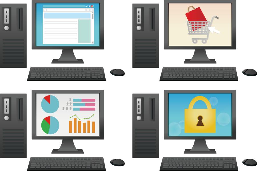 フリーイラスト ネットショッピングするなどの4種類のパソコンのセット