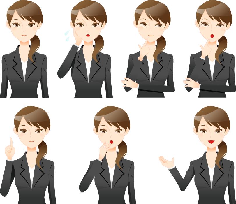 フリーイラスト 7種類のスーツ姿の女性社員のセット