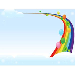 フリーイラスト, ベクター画像, AI, 背景, 空, 青空, 虹, 風船, クローバー(シロツメクサ), 四つ葉のクローバー