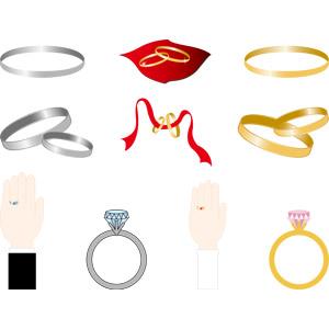フリーイラスト, ベクター画像, AI, 結婚式(ブライダル), 結婚指輪, 装飾品(アクセサリー), 指輪(リング), 宝石, ダイヤモンド