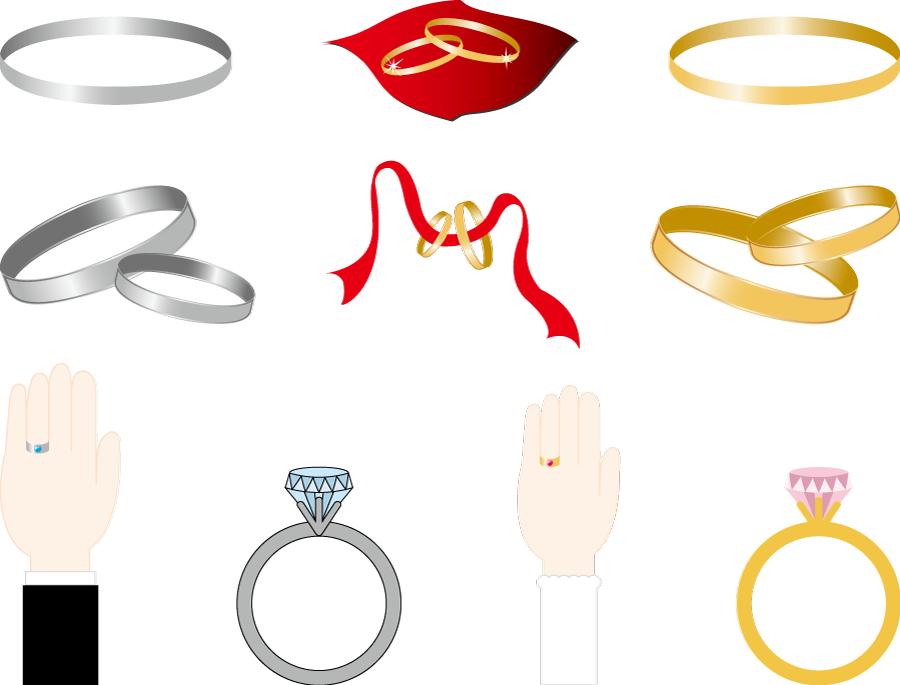 フリーイラスト 10種類の結婚指輪のセット