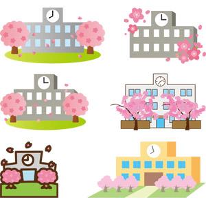 フリーイラスト, ベクター画像, AI, 建造物, 建築物, 校舎, 学校, 桜(サクラ), 春, 卒業式, 入学式, 3月, 4月