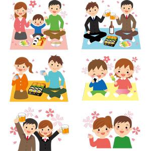 フリーイラスト, ベクター画像, AI, 人物, 家族, 男性, カップル, 子供, 花見, 4月, 3月, 乾杯, 宴会, 料理, 花見だんご(三色団子), 人と花, ビール, 巻き寿司, おにぎり(おむすび), 春