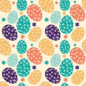 フリーイラスト, ベクター画像, AI, 背景, 卵(タマゴ), 唐草模様, 年中行事, 復活祭(イースター), 春