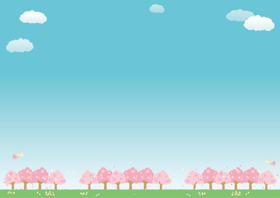 フリーイラスト 青空と満開のさくらの木々の風景