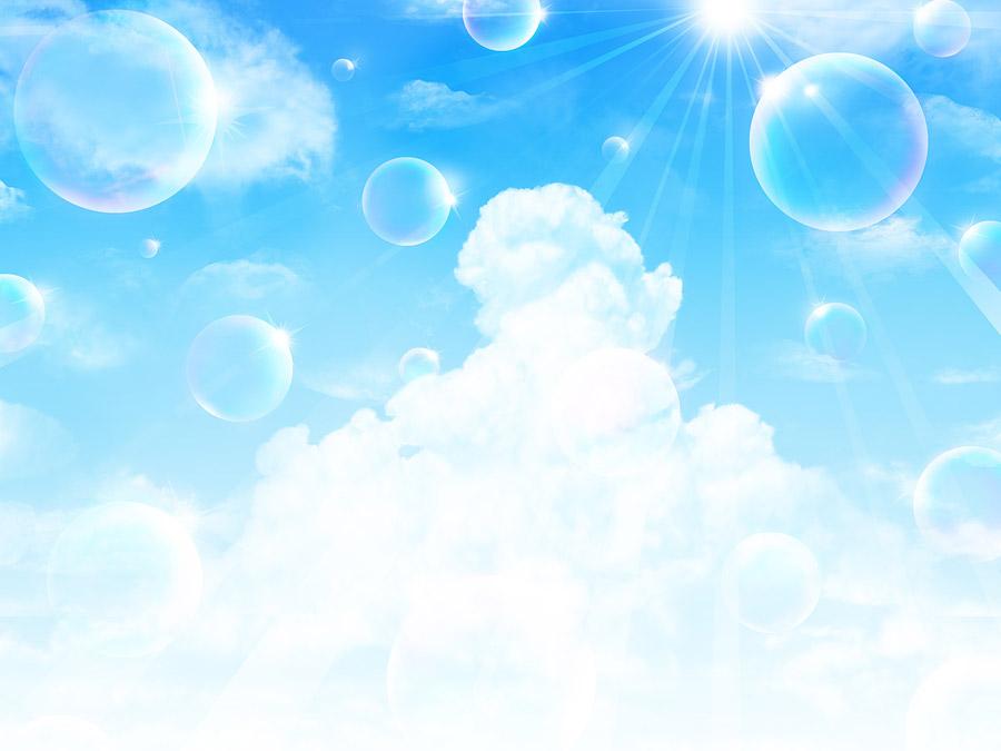 フリーイラスト 太陽の光と入道雲としゃぼん玉の風景