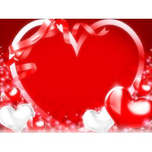 フリーイラスト, 背景, ハート, 輝き, リボン, 年中行事, 2月, バレンタインデー