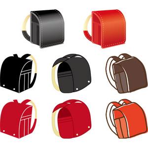 フリーイラスト, ベクター画像, AI, 学校, ランドセル, 鞄(カバン), 小学校