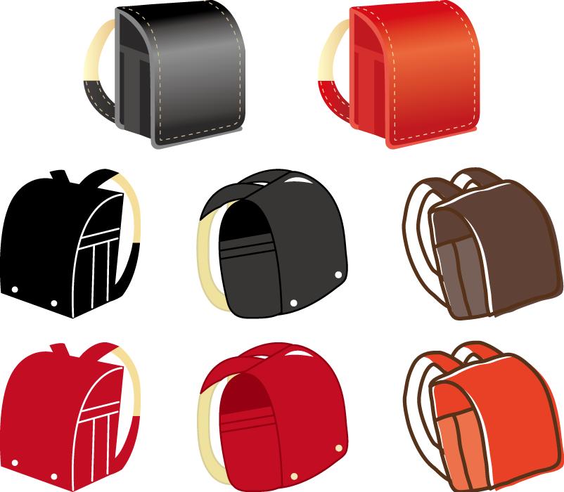 フリーイラスト 8種類のランドセルのセット