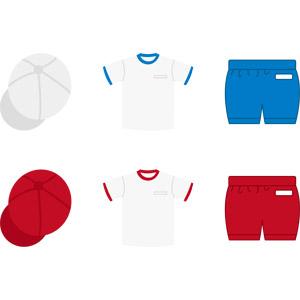 フリーイラスト, ベクター画像, AI, 学校, 小学校, 体操服(体操着), 紅白帽(赤白帽), 衣服(衣類), 体育