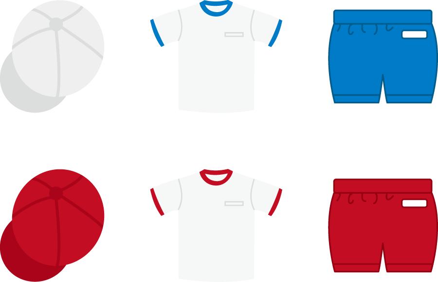 フリーイラスト 6種類の紅白帽と体操服のセット